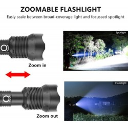 Rechargeable Tactical Led Flashlights 90000 High Lumens, Brightest Powerful Flashlight, Super Bright Zoomable Waterproof Flashlight with Battery, Handheld Flashlight for Camping Emergencies