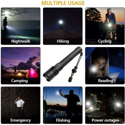 Rechargeable Flashlights 90000 High Lumens, Super Bright Led Tactical Flashlights with Batteries, 3 Light Modes, Zoomable, IPX6 Waterproof, Handheld Flashlight for Camping Emergencies Outdoors