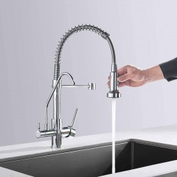 3 Way Water Filter Tap Kitchen Drinking Sink Mixer Taps with Pull Out Spray,Dual Lever Water Sink Tap Brass 360 Degree Swivel Spout,Polished Chrome