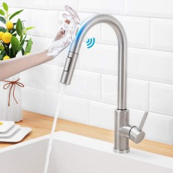 Touch On Kitchen Faucets with Pull Down Sprayer,Sensor Faucets for Kitchen Sinks,Single Hole Single Handle Touch Activated Faucet ,304 Stainless Steel , Brushed Nickel,Without Deck Plate