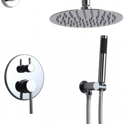 """Bathroom Wall Mounted High-Pressure Rain Shower Mixer Combo Set with 8"""" Round Rainfall Shower Head Handheld Shower Set Rough-In Valve & Trim Included, Brass Polished Chrome"""