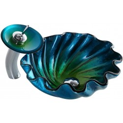 Blue&Green Seashell Wave Tempered Glass Bathroom Vessel Sink & Waterfall Faucet Set Chrome