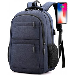 Backpack Bookbag For School College Student Travel Business Hiking Fit With Usb Charging Port Water Resistant 15.6 Inch (Black)