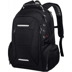 Laptop Backpack for Men, Large Travel Computer Backpack with USB Charging Port for Work Business Fits 17 Inch Notebook, Big College School Bookbag, 40L, Anti Theft, Water Resistant, Black
