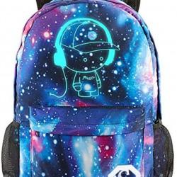 Cartoon Luminous Backpack with USB Charging Port and Lock &Pencil Case Daypack Shoulder Rucksack Laptop Bag