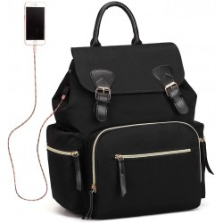 Nappy Backpack, Waterproof Nylon Baby Changing Diaper Storage Bag (Black)