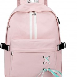 Fashion Travel Backpack with Cute Ribbon for Teen Girl Boy School Bookbag with USB Charging Port & Headphone Jack (Pink)