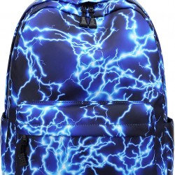 15.6Inch Starry Lightning Stylish Backpack Travel Rucksack School Bags for Teenager Girls Boys Students Outdoor Hiking Camping Weekend Backpack (Blue)