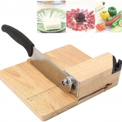 Biltong Slicer Jerky Slicer Cutter with Built-in Knife Sharpener Detachable Knife Rubber Wood Base for Beef Jerky Deli Delicatessen Bacon Hard Fruits Vegetables Herb Ginseng Pastry
