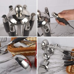 7 Pcs 304 Stainless Steel Kitchen Utensil Set with Wooden Handle, Mirror Finish Polishing Includes Rotating Holder, Spatula, Soup Ladle, Skimmer, Slotted Spatula, Spaghetti Server, Large Spoon