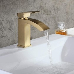 Bathroom Sink Faucet in Brushed Gold, Contemporary Style Single Hole Single Handle Deck Mounted Gold Bathroom Faucet Solid Brass Bathroom Basin Mixer Tap