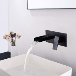 Wall Mounted Waterfall Bathroom Sink Faucet, 2-Hole Single Handle Bathroom Sink Faucets, Use for Vessel or Basin Sinks, Premium Matte Black Finish Faucet in Modern Design