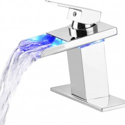 Bathroom Faucet Chrome,Bathroom Sink Faucet with LED Light ,3-Color Changing LED Bathroom Faucets Waterfall Spout, Single Handle Single Hole Vanity Sink Tap Bathroom Faucet