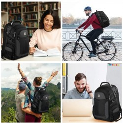 Backpack for Men,TSA Large Business Travel Laptop Backpack Gifts for Men Women with USB Charging Port,Water Resistant Anti Theft Durable Computer Bag College School Bookbag Fits 15.6 Inch Laptop,Black