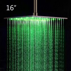 16 Inch Ceiling Mount Square Rainfall LED Shower Head, Stainless Steel (Include Shower Arm)