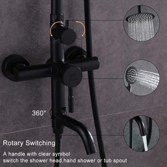 Black Shower Fixtures With 7.9'' Rainfall Shower Head And Handheld Shower,SUS304 Stainless Steel Bathtub Shower