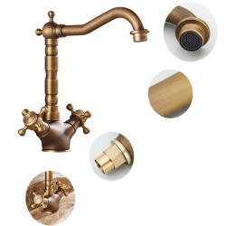 Bathroom Sink Faucet Basin Sink Tap 180 Degree Swivel Antique Inspired Brass With Two Handle,Antique Brass Finish Cloakroom Kitchen Lavatory Sink Mixer Tap Deck Mounted