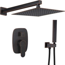 Oil Rubbed Bronze Shower System Wall Mount 10 Inch Rainfall Shower With Handheld Shower Head Mixer Set