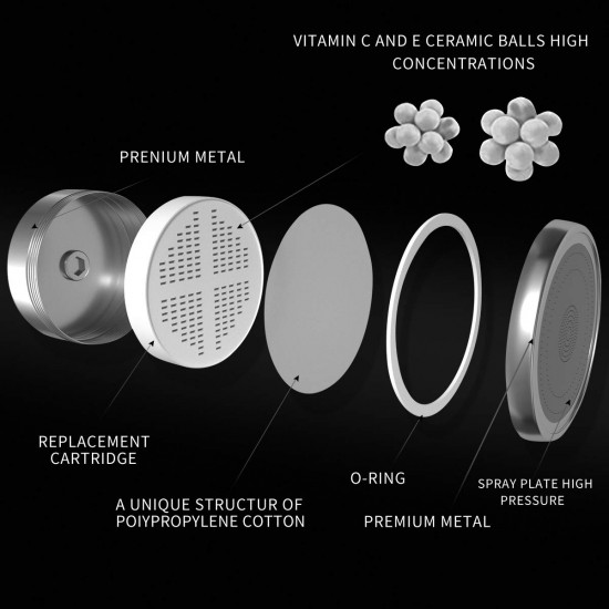 Luxury Filtered Shower Head Set, 4.7″ High Pressure Rain Water Softener with 15 Stage Shower Filter Chlorine