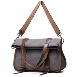 Women's Leather Canvas Tote Convertible Crossbody Messenger Shoulder Bag Grey