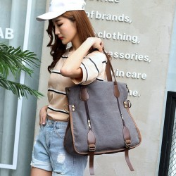 Women's Leather Canvas Tote Convertible Crossbody Messenger Shoulder Bag Grey