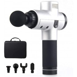 Massage Gun Cordless Rechargeable Muscle Stimulator Deep Tissue Massager Device Body Relaxation Slimming Shaping Pain Relief Silver