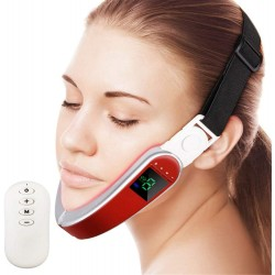 Electric Micro-Current V Face Shaping Massager, Hot Compress Therapy Face Slimming Mask V Shape Double Chin Firm Lift Up,Red