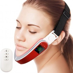 Electric V Face Shaping Massager Facial Massage Apparatus with USB Rechargeable for V Shaped Face Lift Kneading Body Slimming Double Chin Removal,Red