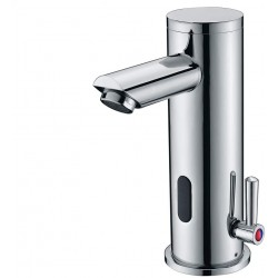 Automatic Electronic Sensor Touchless Faucet, Motion Activated Hands-Free Bathroom Vessel Sink Tap, Temperature Adjustable knob, Hot and Cold Mixer, Chrome Polished Finish