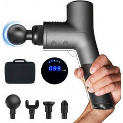 Massage Gun Deep Tissue Professional Body Muscle Massage Gun Portable Percussion Massager for Pain Relief-30 Speed High-Intensity Vibration-Quick Rechargeable Long Life Battery (Gray)