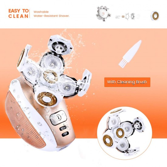 [2020 Newest Version] Electric Shaver for Women, SaikerMan Cordless Electric Razor Legs Body Face Bikini Area Hair Trimmer Remover Removal for Ladies Womens - Rose Gold