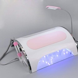 4 IN 1 Nail File Drill & Nail Dust Collector & 54W UV Gel Nail Dryer Lamp Timer 30s 60s 90s & LED Desk Lamp, Salon Expert Nail Machine Multifunctional Nail Art Equipment Manicure Tool Kits
