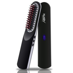 Beard Straightener for Men (2021) Cordless Beard Straightening Comb Ionic Heat Beard Brush USB Charging Beard Iron Beard Hair Straightener Brush for Men & Women—For Home & Travel (Black)