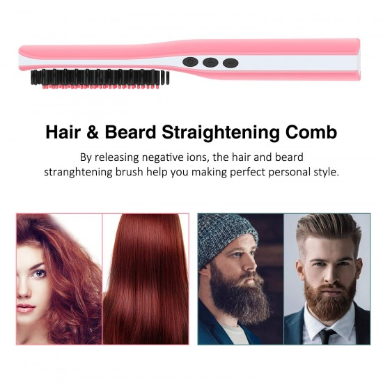 Beard Straightener for Men (2020) Cordless Beard Straightening Comb Ionic Heat Beard Brush USB Charging Beard Iron Beard Hair Straightener Brush for Men & Women—For Home & Travel (Black)