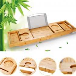Luxury Bathtub Caddy Tray, One or Two Person Bath and Bed Tray, Bonus Free Soap Holder (Natural Bamboo Color)