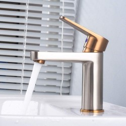 Washing Faucet Nordic Brushed Rose Gold and Silver Metal Brushed Hot and Cold Water Faucet Copper Faucet Under Counter Basin Faucet