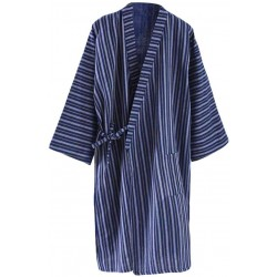 Kimono Loose Cotton Pajamas Bathrobe Men's Yukata Homewear Dressing Gown,Blue