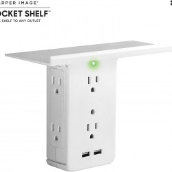 Socket Shelf- 8 Port Surge Protector Wall Outlet, 6 Electrical Outlet Extenders, 2 USB Charging Ports & Removable Built-In Shelf UL Listed