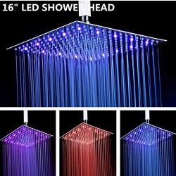 16 Inches Square LED Fixed Rainfall Shower Head Ultra-thin Ceiling Mounted, 3-LAYER Luxury Bathroom Shower Heads Mirror Chrome Polished 304 Stainless Steel, Temperature Sensor 3 Colors Changing