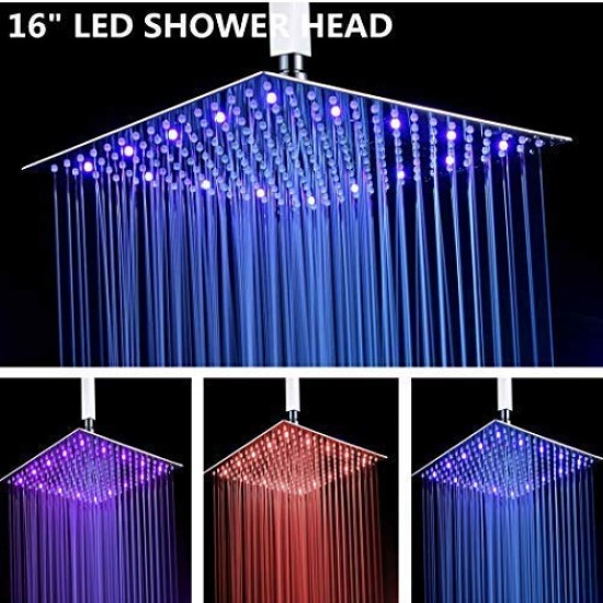 6 inch temperature sensor  3 Color Square Bathroom LED  Rain Top Shower Head US
