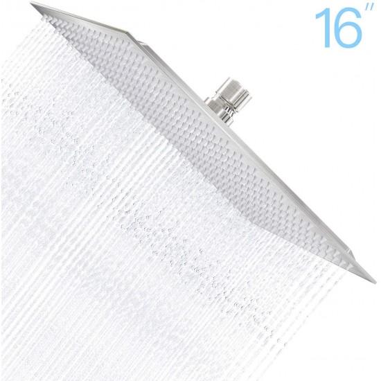 16 Inch Square Rain Shower Head, 304 Stainless Steel, Ultra Thin High Pressure Bathroom Rainfall Showerhead (Brushed Nickel)