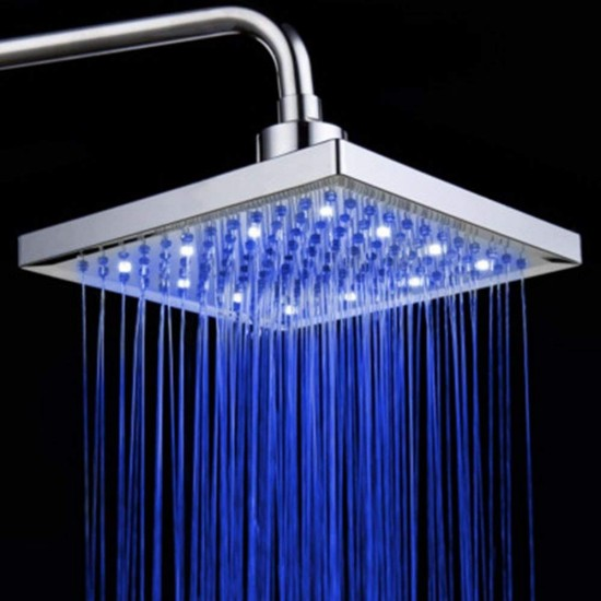 """8"""" Square Multicolor Bathroom 7 Colors Automatic Changing Slowly Water Glow LED Light Rain Top Shower Head"""