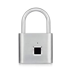 Golden Security Keyless USB Rechargeable Door Lock Fingerprint Smart Padlock Quick Unlock Zinc Alloy Metal Self Developing Chip, Silver