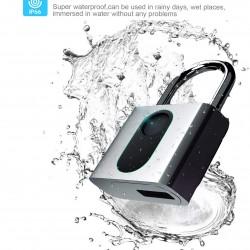 Fingerprint Padlock, Smart Security Lock with USB Charge, IP66 Waterproof Anti-Theft Keyless Padlock Suitable for House Door, Suitcase, Backpack, Gym, Bike, Office