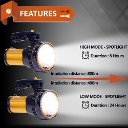 USB Power Bank Rechargeable flashlights 35W LED Handheld Searchlight, High-power Super Bright 9000mah 6000 Lumens,  IPX4 Waterproof Searchlight, Portable Handheld Torch.(Golden)