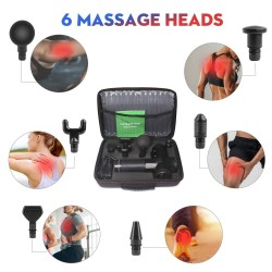 Muscle Massage Gun Handheld Therapeutic Percussion Massager - 30 Speed Settings for Premium Muscle Relief - 6 Different Swappable Heads (Black)