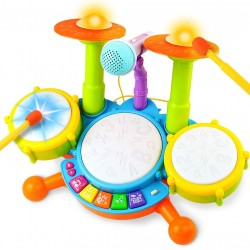 Drum Set for Kids with 2 Drum Sticks 1 Microphone with Light & Background Music Toy Electric Drum Musical Instruments Toys Gift for Boys Girls Children Toddlers Baby Infant