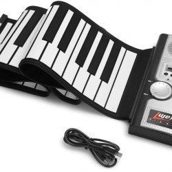 61 Keys Roll Up Piano Upgraded Portable Rechargeable Electronic Hand Roll Piano with Environmental Silicone Piano Keyboard for Beginners