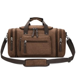 Canvas Travel Duffel Bag Men's Weekender Overnight Bag (Coffee)