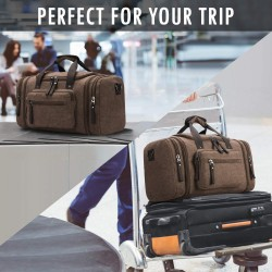 Canvas Travel Duffel Bag Men's Weekender Overnight Bag (Coffee)
